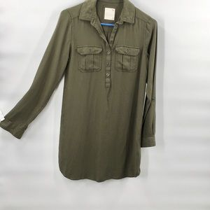 So Button Avocado Down Shirt Tunic Top XS